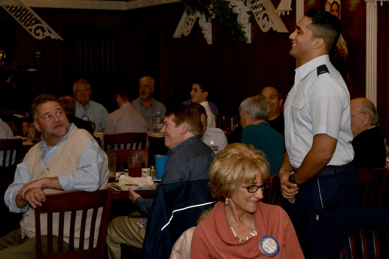 U.S. Air Force 2nd Lt. Rajeev Stephens, 315th Training Squadron trainee, stands to be introduced during a luncheon at a restaurant in San Angelo, Texas, Jan. 5, 2017. Stephens was one of the top five 17th Training Groups students for Dec. 2017.