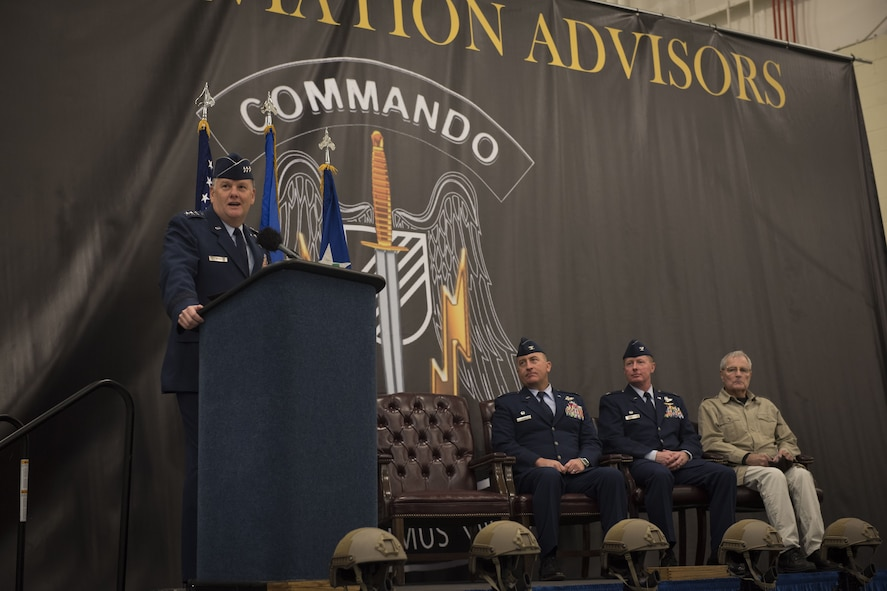 Lt. Gen. Brad Webb, commander of Air Force Special Operations Command, addresses Air Commandos and honored guests in a ceremony at Duke Field