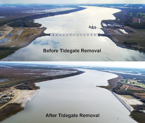 Before: This 2016 file photo shows the Back River tide gates before removal. The removal of the tide returned the Back River to its natural width, removed an obstruction in the river and helped mitigate for the upcoming deepening of Savannah harbor. After: Tide gates between Hutchison Island in the Savannah River and the South Carolina shoreline have been removed as another mitigation step to allow for the deepening of the Savannah harbor. The gates also narrowed the channel. The Army Corps of Engineers removed the gates' supporting structure under a $21.3 million contract that also created a sill along Hutchinson Island. The removal and the sill creation also enhanced fish habitat in this popular area. The photos depict the Back River before and after tide gate removal. (U.S. Army Corps of Engineers photos) Original high resolution photos (separated, without embedded titles) available at https://www.flickr.com/photos/savannahcorps/albums/72157676133450232.