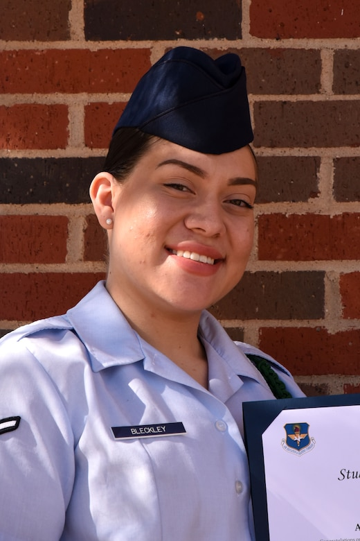 315th Training Squadron Student of the Month for Dec. 2017, U.S. Air Force Airman Nina Bleckley, 315th TRS trainee, stands outside the base theater on Goodfellow Air Force Base, Texas, Jan. 5, 2018. Bleckley is the Goodfellow Student of the Month spotlight for December 2017, a series highlighting Goodfellow students. (U.S. Air Force photo by Airman 1st Class Seraiah Hines/Released)