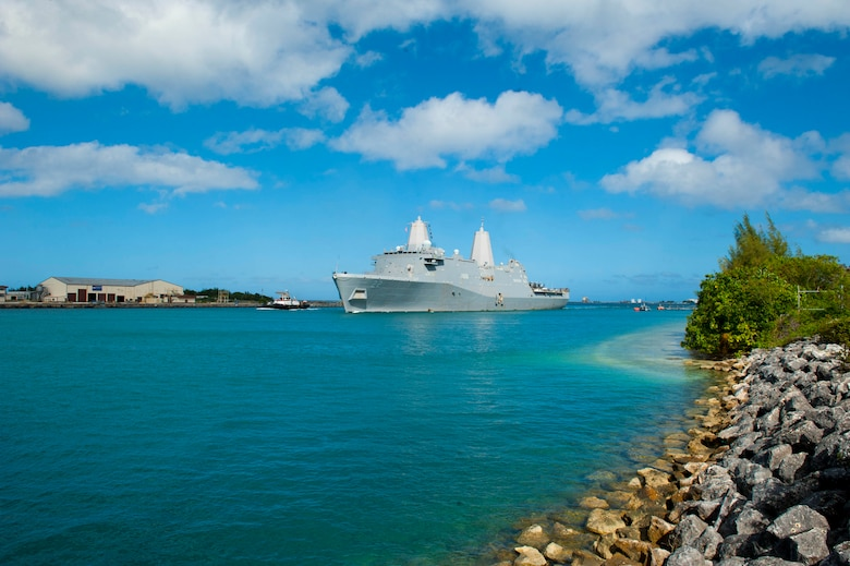 The amphibious transport dock ship USS San Diego (LPD 22) arrives in Guam for a scheduled port visit. San Diego, part of the America Amphibious Ready Group, with embarked 15th Marine Expeditionary Unit, is operating in the Indo-Asia-Pacific region to strengthen partnerships and serve as a ready-response force for any type of contingency.