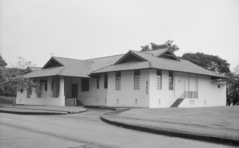 The Albrook Air Force Base Dispensary (Building 865), which provided medical service to not only Air Force personnel and dependents, but also to Latin American personnel in attendance at the Air Force School for Latin America (later known as the School for the Americas). (Photo courtesy of the Library of Congress)