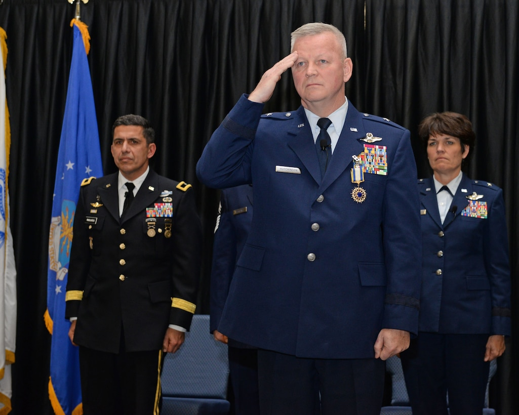 Brig. Gen. Paul N. Hutchinson, the commander New Hampshire Air National Guard renders a final salute during his retirement ceremony, at Pease Air National Guard Base, N.H., Jan. 6, 2017.  Hutchinson also served as the assistant adjutant general-air, New Hampshire ANG.  (N.H. Air National Guard photo by Staff Sgt. Curtis J. Lenz)