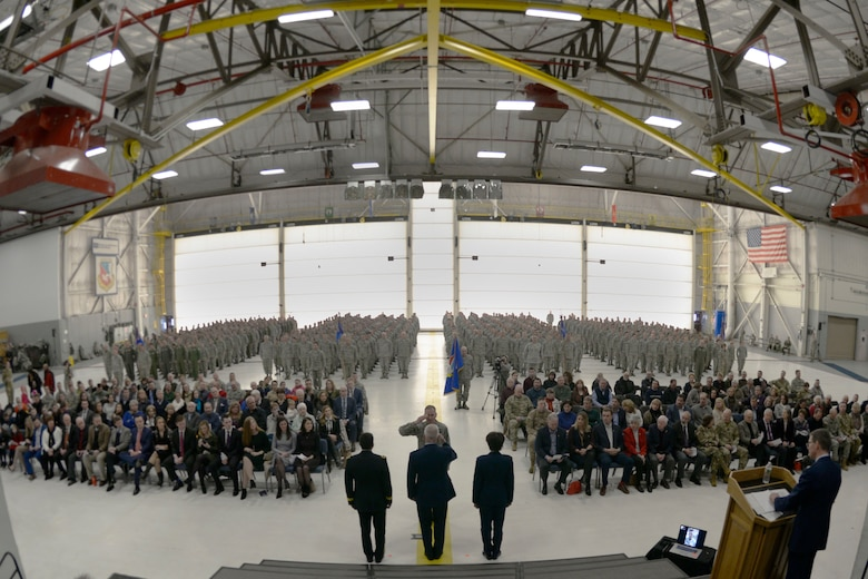 Col. James Ryan, the 157th Air Refueling Wing commander, renders a salute to Brig. Gens. David Mikolaities, Paul Hutchinson, and Laurie Farris, the adjutant general and assistant adjutant general of the N.H. National Guard, and the chief of staff, during Hutchinson's retirement at Pease Air National Guard Base, N.H., Jan. 6, 2018. General Hutchinson retired after serving more than 37 years. (N.H. Air National Guard photo by Senior Airman Taylor Queen)