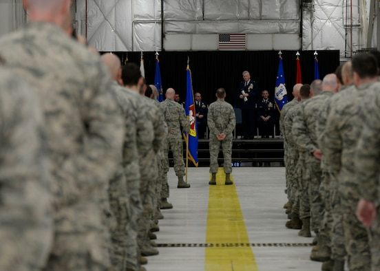 Brig. Gen. Paul Hutchinson addresses members of the 157th Air Refueling Wing during his retirement ceremony at Pease Air National Guard Base, N.H., Jan. 6, 2018. Hutchinson retired after serving as the assistant adjutant general for three years. (N.H. Air National Guard photo by Senior Airman Taylor Queen)