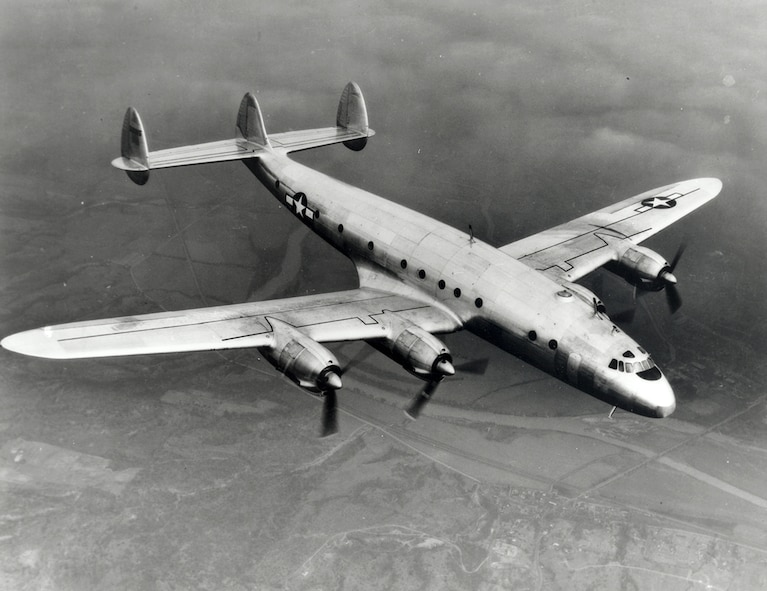#OTD 9 Jan 1943 at Edwards - The first flight of the Lockheed XC-69 took place from Burbank, Calif. to Muroc. It was piloted by company test pilots Edmund Allen and Milo Burcham.  The four-engine, propeller-driven aircraft was designed by Kelly Johnson and was developed from the Lockheed L-049 Constellation airliner.