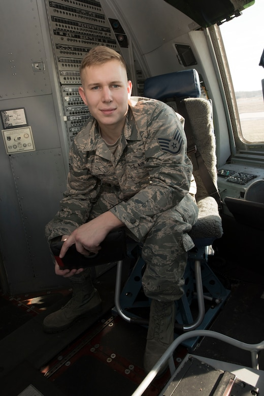 Staff Sgt. Dennis Carter is an integrated avionics systems mechanic for the 167th Airlift Wing. He is the wing's Airman Spotlight for January 2018. (U.S. Air National Guard photo by Senior Master Sgt. Emily Beightol-Deyerle)