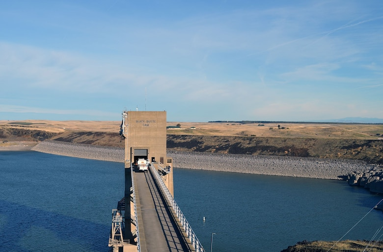 The Black Butte Dam and control tower for the outlet works is seen during an inspection by U.S. Army Corps of Engineers Sacramento District Dam Safety Sections on Nov. 30, 2017 near Orland, California.