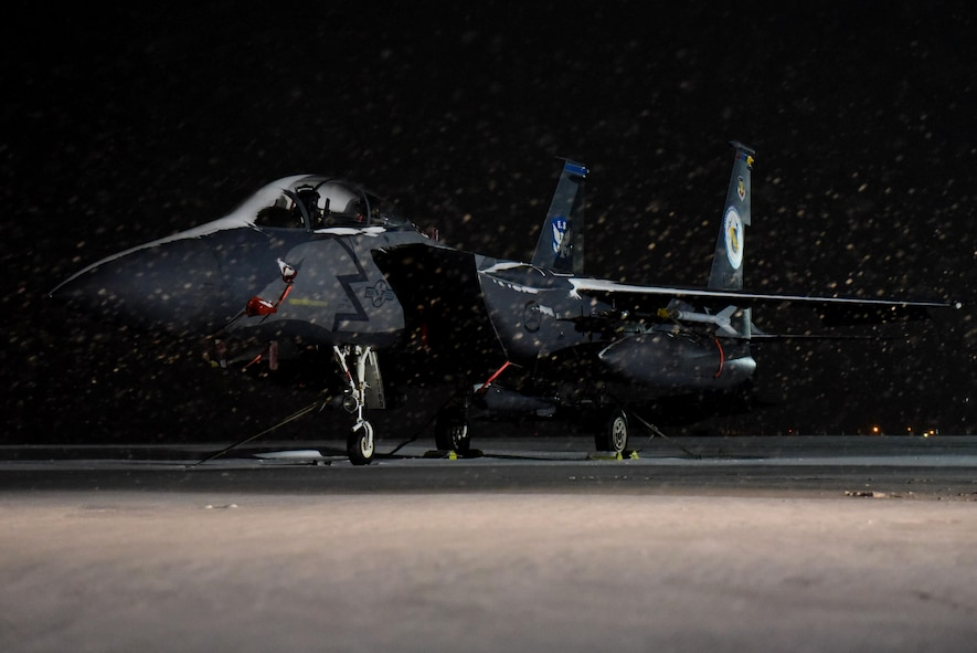 The 4th Fighter Wing's Heritage Jet on a snow covered flight line Jan. 4, 2018, at Seymour Johnson Air Force Base, North Carolina.