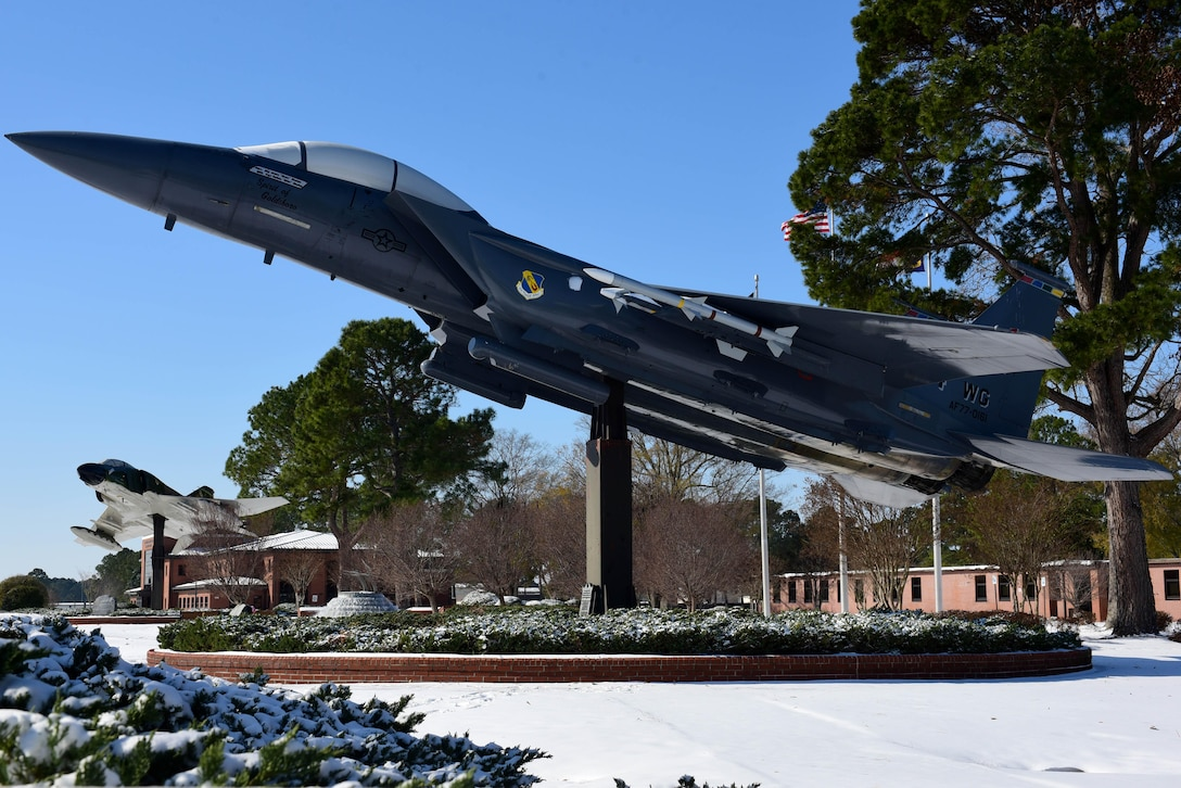 An F-15E Strike Eagle static display in Heritage Park Jan. 4, 2018, at Seymour Johnson Air Force Base, North Carolina. The F-15E Strike Eagle is a dual-role fighter designed to perform both air-to-air and air-to-ground missions. (U.S. Air Force photo by Airman 1st Class Victoria Boyton)