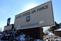 A welcome sign at the entrance to the base Jan. 4, 2018, at Seymour Johnson Air Force Base, North Carolina. The base is home to both the 4th Fighter Wing and the 916th Air Refueling Wing. (U.S. Air Force photo by Airman 1st Class Victoria Boyton)