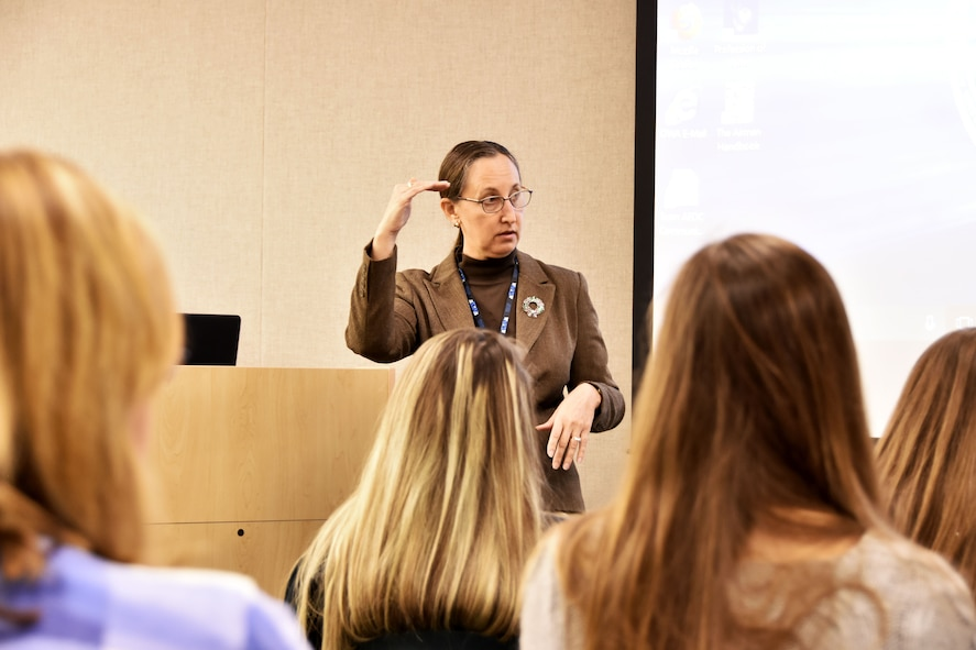 Cynthia Rivera, general manager of National Aerospace Solutions, AEDC Test Operations and Sustainment contractor, speaks to the participants of the Bridge to the Future event at Arnold Air Force Base. The event Dec. 18 provided college-age students of AEDC team members the chance to see where their family works and learn about the many career opportunities available. (U.S. Air Force photo/Rick Goodfriend)