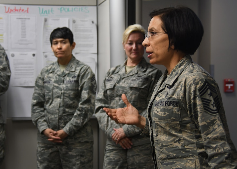 Chief Master Sgt. Ericka Kelly, Air Force Reserve Command command chief master sergeant, speaks to the 94th Aeromedical Staging Squadron at Dobbins Air Reserve Base, Ga, Jan. 7, 2018. Kelly visited Dobbins to tour the base and visit the units, as well as host question and answer sessions. (U.S. Air Force photo by Staff Sergeant Miles Wilson)
