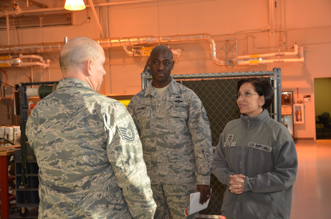 Chief Master Sgt. Ericka Kelly, Air Force Reserve Command command chief master sergeant, speaks to aerial porters at Dobbins Air Reserve Base, Ga, Jan. 6, 2018. Kelly visited Dobbins to tour the base and visit the units, as well as host question and answer sessions. (U.S. Air Force photo by Senior Airman Lauren Douglas)
