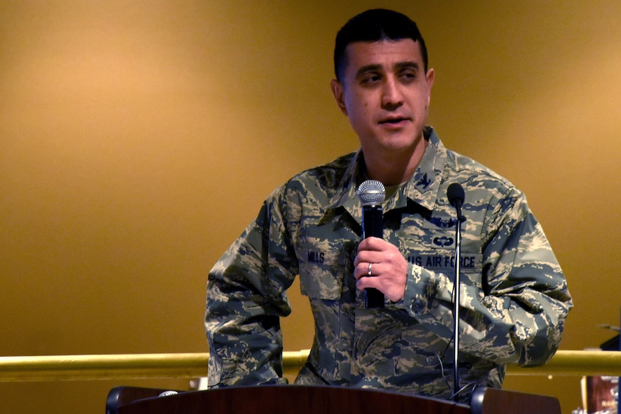 U.S. Air Force Col. Ricky Mills, 17th Training Wing commander, speaks during the ribbon cutting ceremony at the Western Winds Dining Facility on Goodfellow Air Force Base, Texas, Jan. 8, 2018. Mills spoke on how having dining facilities with heathier choices for all customers will help relationships and Airman quality of life. (U.S. Air Force photo by Airman 1st Class Seraiah Hines/Released)