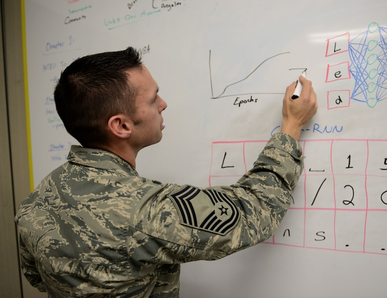 Chief Master Sgt. Ian Eishen, 9th Intelligence Squadron superintendent, illustrates a coding concept in the 548th Intelligence, Surveillance and Reconnaissance Group Innovation Lab at Beale Air Force Base, California, Jan. 3, 2018. The Innovation Lab allows Airmen a creative space to experiment with computer coding, artificial intelligence, virtual reality and 3D printing technology.