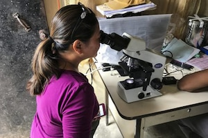 A woman looks through a microscope.