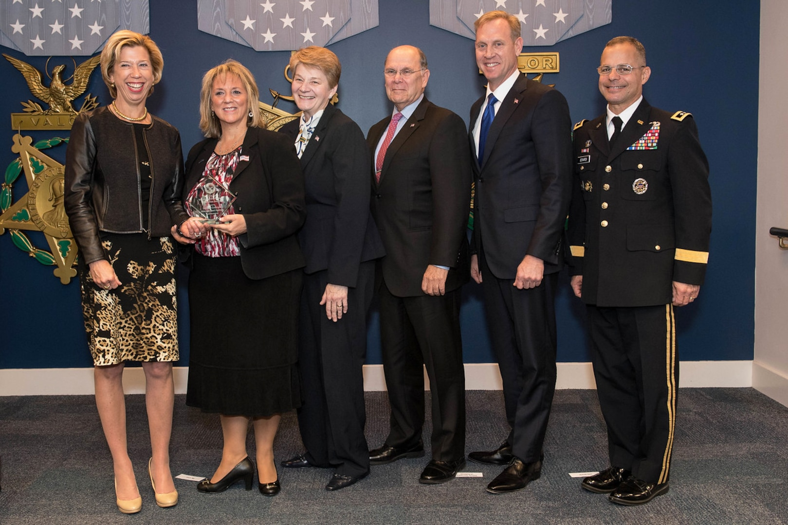 Ellen Lord, undersecretary of defense for acquisition, technology and logistics, presents the 2017 Defense Acquisition Workforce Development Innovation Award to the Defense Contract Management Agency at a Dec. 6 ceremony at the Pentagon. From left are Lord; Kathy Butera, executive director, DCMA Human Capital; Marie Greening, DCMA deputy director; Chris Zubof, director, DCMA Strategic Learning Division; Patrick Shanahan, deputy secretary of defense; and Army Lt. Gen. Anthony Ierardi, director of force structure, resources and assessment in the Joint Staff. (Army photo by Spc. Tammy Nooner)