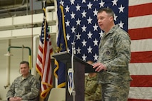 Col. Britt Hatley, the 119th Wing commander, speaks to a 119th Wing unit member formation and a gathering of civilian dignitaries gathered for a ceremony formally recognizing the unit with the Air Force Outstanding Unit Award at the North Dakota Air National Guard Base, Fargo, N.D., Jan. 6, 2017.