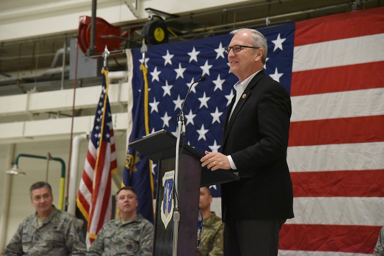 United States Congressman Kevin Cramer, North Dakota, speaks to a 119th Wing unit member formation and a gathering of civilian dignitaries gathered for a ceremony formally recognizing the unit with the Air Force Outstanding Unit Award at the North Dakota Air National Guard Base, Fargo, N.D., Jan. 6, 2017.