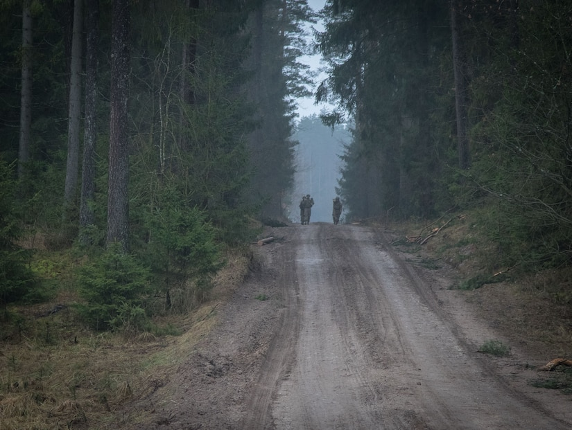 Soldiers assigned to 3rd Squadron, 2nd Cavalry Regiment, carry a weighted litter on the second day of the unit's three-day sniper school tryouts in Bemowo Piskie, Poland, Jan. 3, 2018. Army photo by Spc. Andrew McNeil