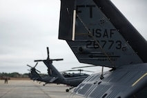 HH-60G Pave Hawks rest on the flight line, Jan. 9, 2018, at Moody Air Force Base, Ga. The 41st Helicopter Maintenance Unit keeps Pave Hawks operationally mission-ready by performing inspections and repairs on various components of the helicopter. Those efforts are critical in facilitating the mission of the 41st Rescue Squadron at Moody. (U.S. Air Force photo by Airman 1st Class Erick Requadt)