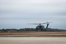 An HH-60G Pave Hawk takes off, Jan. 9, 2018, at Moody Air Force Base, Ga. The 41st Helicopter Maintenance Unit keeps Pave Hawks operationally ready by performing inspections and repairs on various components of the helicopter. Those efforts are critical in facilitating the mission of the 41st Rescue Squadron at Moody. (U.S. Air Force photo by Airman 1st Class Erick Requadt)