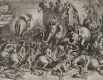 The Battle Between Scipio and Hannibal at Zama, Cornelis Cort, after Giulio Romano, engraving ca. 1550–1578, Elisha Whittelsey Collection