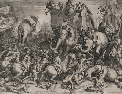 The Battle Between Scipio and Hannibal at Zama, Cornelis Cort, after Giulio Romano, engraving ca. 1550–1578, Elisha Whittelsey Collection (Courtesy Metropolitan Museum of Art)