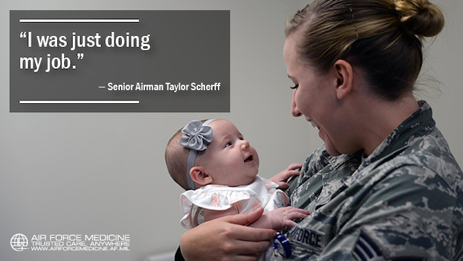 Senior Airman Taylor Scherff, 55th Medical Group Pediatric Clinic medical technician, tries to make three-month-old Isabelle Kittel smile in the Ehrling Bergquist Clinic at Offutt Air Force Base, Neb., Sept. 12, 2017. Scherff caught abnormalities in Kittle when she began taking her vital signs which led to the infant being taken to a catheterization laboratory and then into an emergency heart surgery. (U.S. Air Force photo by Tech. Sgt. Rachelle Blake)