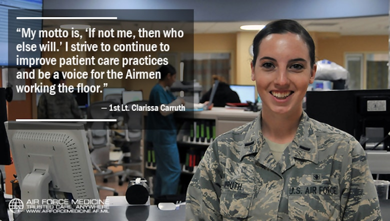 First Lt. Clarissa Carruth, 81st Inpatient Operation Squadron clinical nurse, pauses for a photo at Keesler Air Force Base, Miss., April 5, 2017. Carruth implemented a new communication tool, Ticket to Ride, and created a unit advisory council where Airmen have a voice and can feel comfortable expressing their ideas and concerns during her time at the 81st Medical Group.