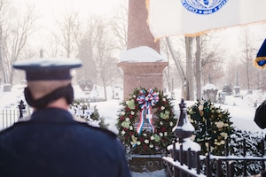 Col. David Warnick, commander of the 107th Mission Support Group, Niagara Falls Air Reserve Station, New York Air National Guard, prepares to lay a wreath on behalf of the president at the grave of Millard Fillmore, the 13th president, Buffalo, N.Y., Jan. 5, 2018.