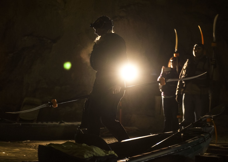 A group from Scott Air Force Base Outdoor Recreation boards their kayaks, Sept. 23, 2017,at Crystal City Underground, an abandoned, submerged sandstone mine in Crystal City, Mo. The mine dates back to the late 1880s, when it supplied sand to local glass manufacturers. (U.S. Air Force photo by Airman 1st Class Tara Stetler)