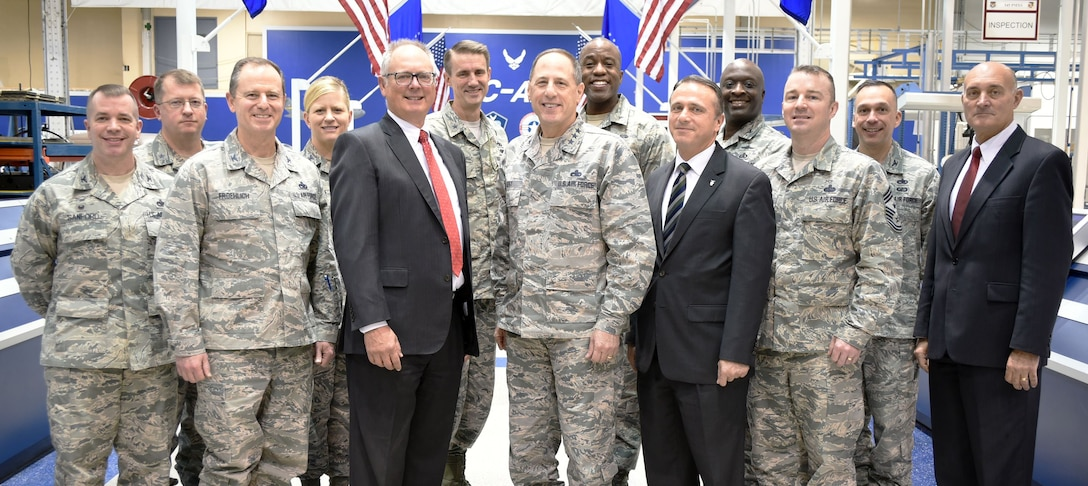 Commanders from across the Air Force Sustainment Center spent Jan. 9 and 10 at Tinker Air Force Base, Okla., at the 2018 AFSC Commander's Summit. During the two-day event, the group discussed several topics concerning AFSC such as manpower and hiring, budget execution and energy savings. Pictured are, from left, Col. David Sanford, 635th Supply Chain Operations Wing commander; Brig. Gen. John Kubinec, Warner Robins Air Logistics Complex commander; Col. Eric Froehlich, AFSC vice commander; Col. Jennifer Hammerstedt, 75th Air Base Wing commander; retired Lt. Gen. Bob Allardice; Brig. Gen. Tom Miller, Oklahoma City Air Logistics Complex commander; Lt. Gen. Lee K. Levy II, AFSC commander; Brig. Gen. Stacey Hawkins, Ogden Air Logistics Complex commander; Mr. Kevin Stamey, AFSC executive director; Col. Thomas Brown, 72nd Air Base Wing vice commander; Chief Master Sgt. Gary Sharp, AFSC command chief; Col. Lyle Drew, 78th Air Base Wing commander; and Mr. Dennis D'Angelo, 448th Supply Chain Management Wing director. (Air Force photo by April McDonald)