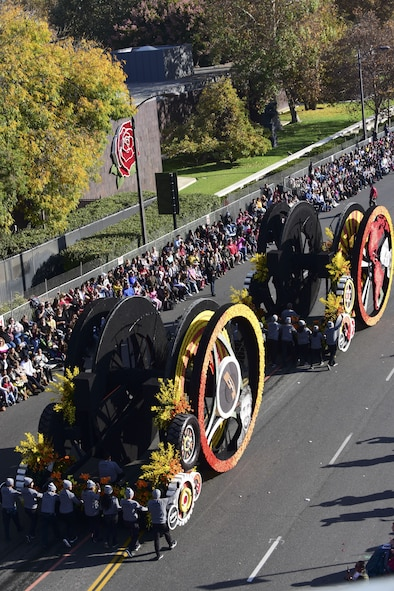 The Amazon Prime Exclusive Series float rolls down the parade route during the 129th Rose Parade in Pasadena, Calif., Jan. 1, 2018. The float was the first of its kind to be human-powered for the entire 5.5 miles of the parade. (U.S. Air Force photo by Staff Sgt. Danielle Quilla)