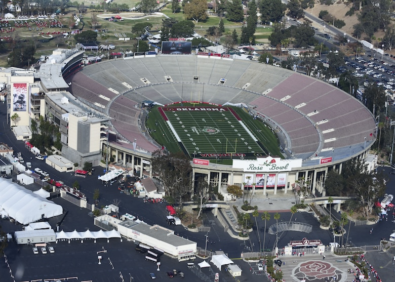"The Rose Bowl stadium from a Pasadena Police helicopter in Pasadena, Calif., Dec. 31, 2017. The Rose Bowl College Football Semifinal is known as the ""Granddaddy of Them All"" because it is the oldest bowl game. (U.S. Air Force photo by Staff Sgt. Danielle Quilla)"