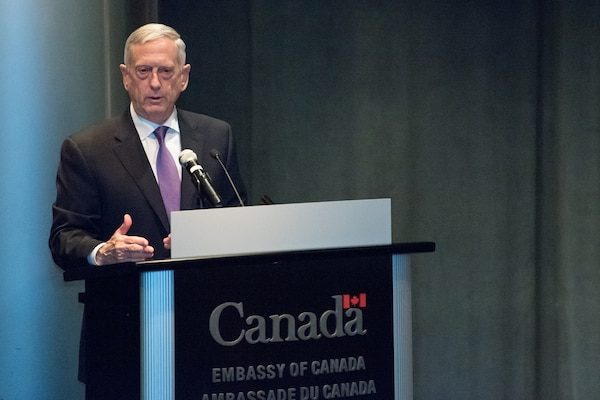 Defense Secretary James N. Mattis speaks to defense attachés from various countries during a town hall at the Canadian Embassy in Washington, D.C., Jan. 10, 2018. DoD photo by Army Sgt. Amber I. Smith