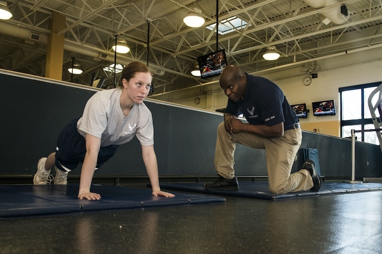 Fitness specialists assigned to the 20th Force Support Squadron fitness center and annex are available to assist Airmen with adjusting their push-up and sit-up forms in preparation for their physical training tests.