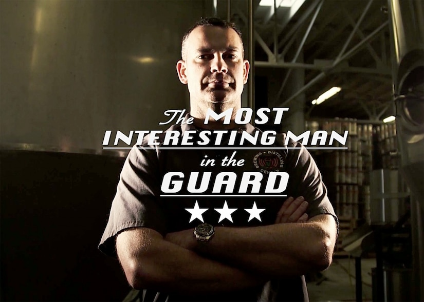 "Video frame grab with text overlay reading ""The Most Interesting Man in the Guard"""