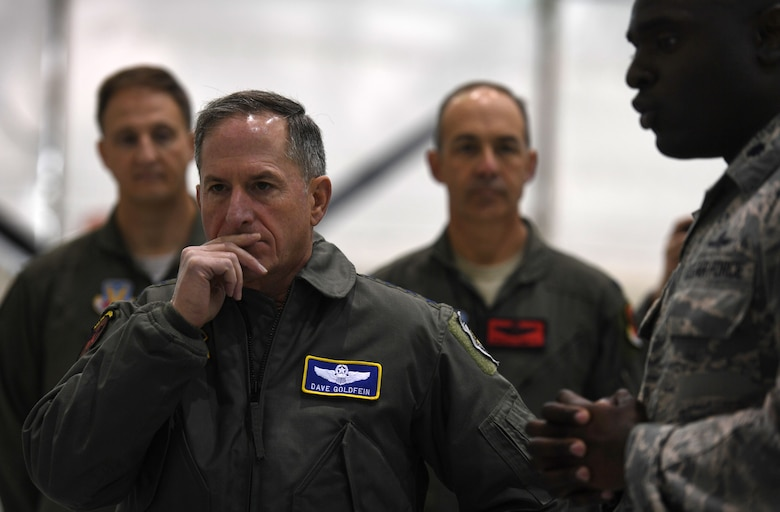 Air Force Chief of Staff Gen. David L. Goldfein speaks to aircraft communications maintenance Airmen during his visit to Creech Air Force Base, Nev., Jan. 9, 2018. Goldfein visited with the 432nd Wing/432nd Air Expeditionary Wing and 799th Air Base Group Airmen who deliver persistent attack and reconnaissance 24/7/365 against the nation's enemies. (U.S. Air Force photo/Master Sgt. Nadine Barclay)