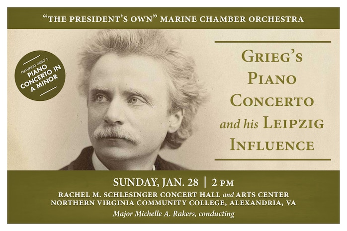 Marine Chamber Orchestra concert featuring Edvard Grieg's Piano Concerto in A minor, along with works by Felix Mendelssohn and Robert Schumann.
