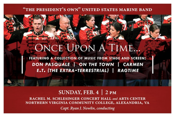 Marine Band concert featuring a collection of music from stage and screen, including Don Pasquale, On the Town, Carmen, E.T. (the Extra-Terrestrial), and Ragtime.