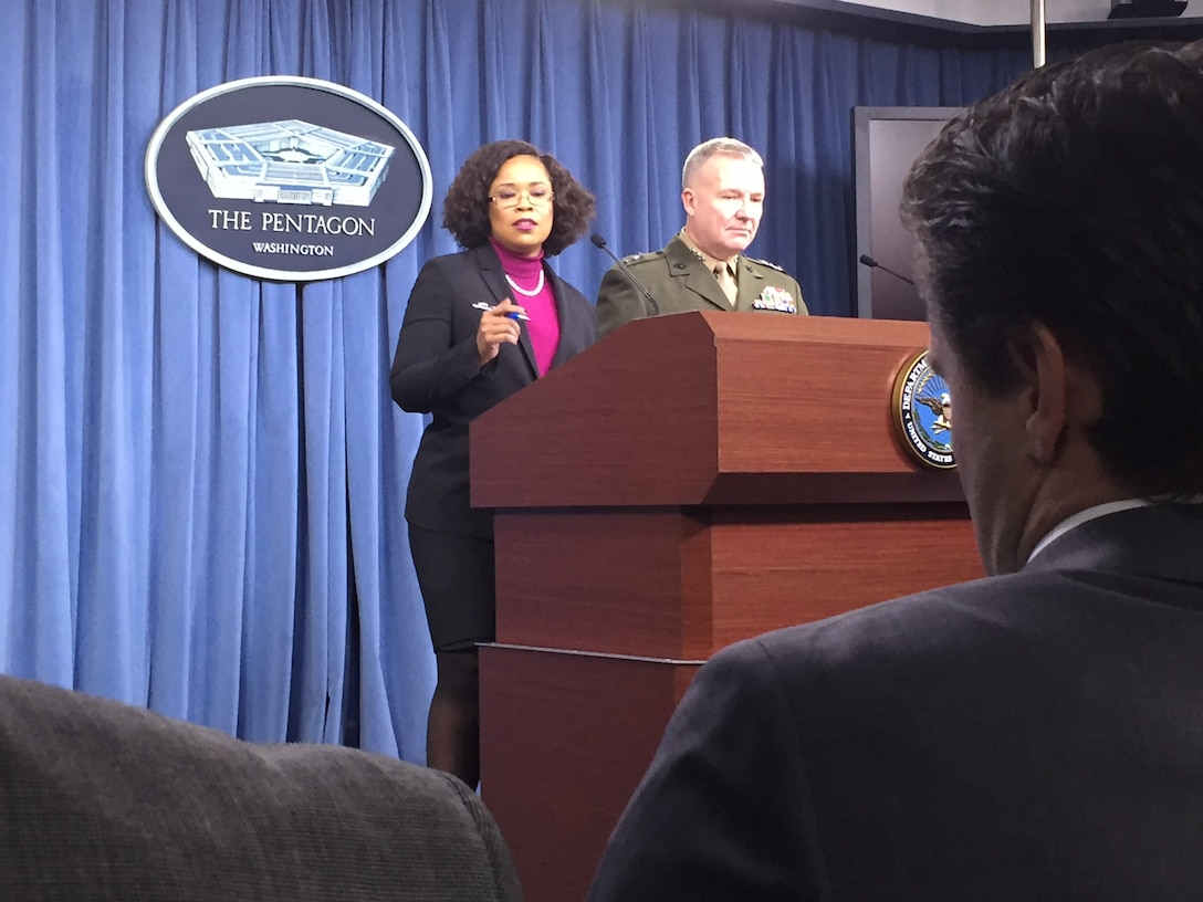 Chief Pentagon spokesperson Dana W. White and Marine Corps Lt. Gen. Kenneth F. McKenzie Jr. brief Pentagon reporters on various topics, including the progress made to defeat the Islamic State of Iraq and Syria.