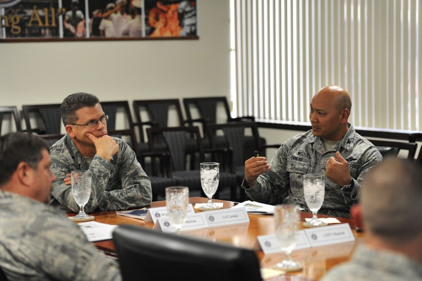 U.S. Air Force Col. Jimmy Canlas, 437th Airlift Wing commander, right, provides a mission brief about 437th Air Wing accomplishments and capabilities to Brig. Gen. Steven J. Bleymaier, director of logistics, engineering and force protection, Headquarters Air Mobility Command, Scott Air Force Base, Ill at Joint Base Charleston, Jan. 9, 2018. Bleymaier visited JB Charleston to get a better understanding of joint operational capabilities and to meet with services members.