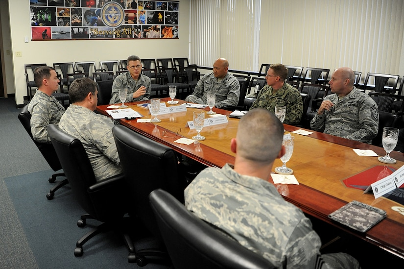 U.S. Air Force Brig. Gen. Steven J. Bleymaier, director of logistics, engineering and force protection, Headquarters Air Mobility Command, Scott Air Force Base, Ill asks a question of Joint Base Charleston leadership here, Jan. 9, 2018. Bleymaier visited JB Charleston to get a better understanding of joint operational capabilities and to meet with services members.