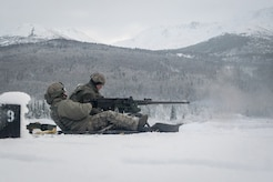 Airmen assigned to the 673d Security Forces Squadron conduct an M2 .50 Caliber machine gun qualification range on Joint Base Elmendorf-Richardson, Alaska, Jan. 10, 2018. Security Forces Airmen perform extensive training in law enforcement as well as combat tactics to protect U.S. Military bases and assets both stateside and overseas.