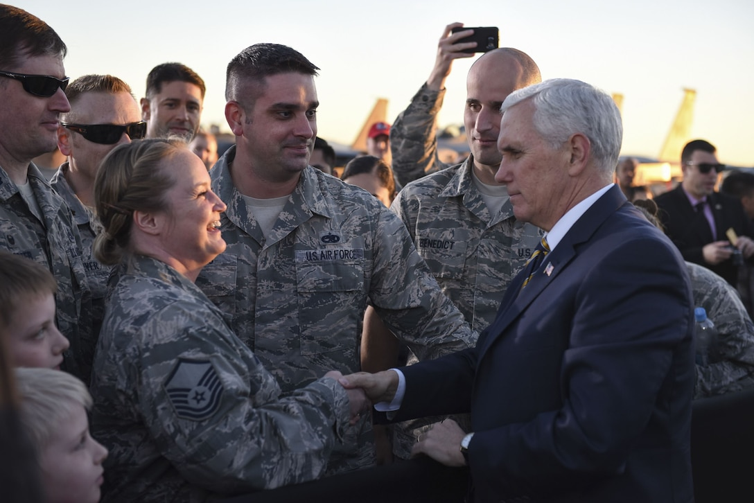 Vice President Mike Pence shakes hands with Airmen during his visit to Nellis Air Force Base, Nevada, Jan. 11, 2018. Nellis is Air Combat Command's largest base and home to the U.S. Thunderbirds. (U.S. Air Force photo by Airman 1st Class Andrew Sarver)
