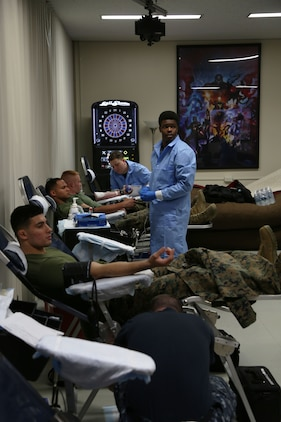 CAMP FOSTER, OKINAWA, Japan – Marines give blood Jan. 11 at the Single Marine Program blood drive aboard Camp Foster, Okinawa, Japan.