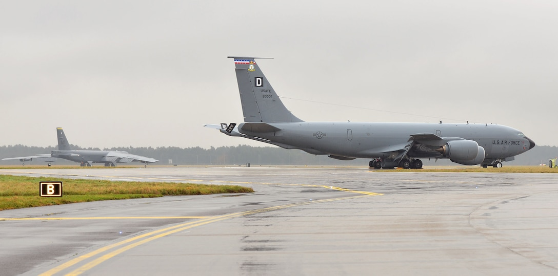 A B-52 Stratofortress, supporting a strategic bomber deployment in Europe, was diverted to RAF Mildenhall due to inclement weather Jan. 9, 2018, while en route to RAF Fairford, England. The 100th Air Refueling Wing had Airmen standing by and infrastructure available to receive the bomber aircraft until it was able to continue to its final destination. The strategic bomber is one of four B-52s from the 5th Bomb Wing, Minot Air Force Base, North Dakota, conducting theater integration and training in the United Kingdom. (U.S. Air Force photo by Karen Abeyasekere)