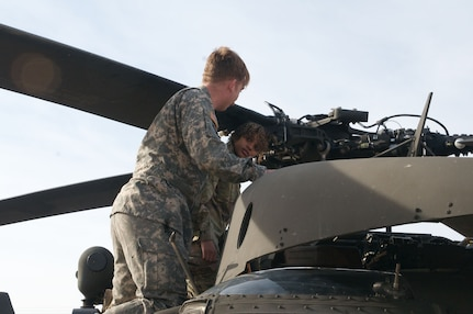 19-year old Adrian Hinton gets a hands-on tour of an Oklahoma Army National Guard Black Hawk helicopter at the Armed Forces Reserve Center in Norman, Oklahoma.